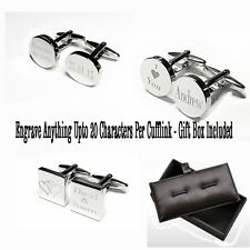 Engraved Cufflinks Cuff Links Personalised Gift Wedding Best Man UK SELLER