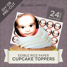 24 Personalised Your Own Photo or Logo on Edible Cup Cake Toppers