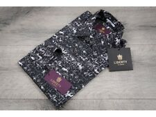 Liberty of London £130 Grey Coat Of Arms Slim Fit Shirt Made In Italy