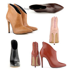 Women PU Oiled Leater Pointed Toe High Heels Stilettos Ankle Boots Shoes US 4-11