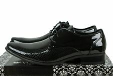 Voeut Patent Fashion Formal Mens Lace up pointed Dress Wedding Shoes in Black