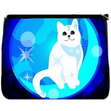 White Cat With Blue Stars Sat On Moon Black Large Messenger School Bag