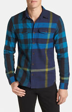 NWT Burberry Brit Mens Exploded Flannel Check Cotton Shirt Regency Blue XXL
