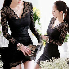 New Women Sexy Long Sleeve Evening Party Cocktail Ball Lace Mini Dress Clubwear