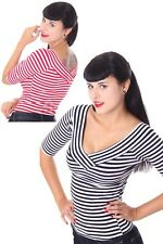 50s retro Pin Up Streifen V-Neck Rockabilly Longsleeve