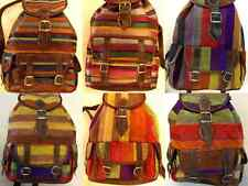 Moroccan Backpacks in Multicolor Striped Patterns Sabra Silk & Brown Leather