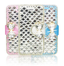 Bling Diamond Crystal Bow Leather Wallet Flip Case Stand Cover For Apple Samsung