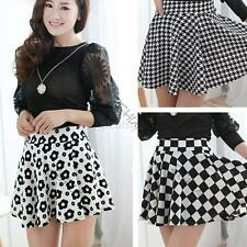 Sweet&Chic Lady Stretch Waist Skirts Short Mini Party Print Flared Pleated Skirt