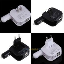 Universal 2In1 Combo Car and Home Travel Wall Charger W/ Two 2.1A USB Ports LS4G