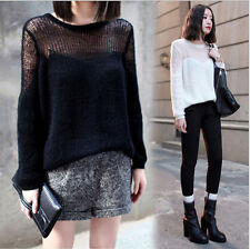 New Fashion Women Loose Casual Hollow Pullover Sweater Tops Coat Shirt Outwear