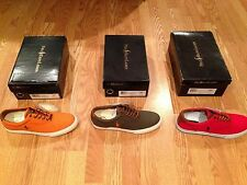 Polo Ralph Lauren Vaughn canvas leather boat shoes sneaker orange red green