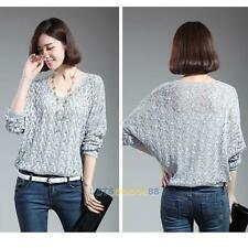 New Women Knitted V-Neck Loose Oversized Batwing Jumper Pullover Sweater LS4G