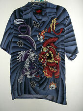 NEW RED & BLUE DRAGON hawaiian shirt  by  DRAGONFLY  size M