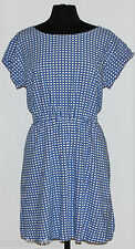 GAP~Wome's Royal Blue/Ivory Print Cap Sleeve Lined Dress $64.95~Size PL ~NWT