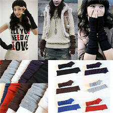 Hot 1pc unisex Womens Wrist Arm Fingerless Long Mitten Knit Winter Glove