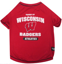 NCAA Pet Fan Gear WISCONSIN BADGERS Tee T Shirt for Dog Dogs Puppy COTTON