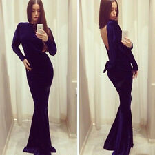 CA Sexy Women Long Sleeve Bandage Bodycon Evening Party Cocktail Long Maxi Dress