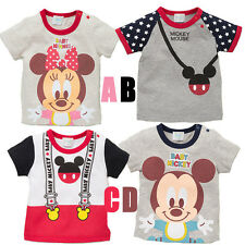 NEW Cute Disney Mickey Mouse Baby Boys Girls Printing T-shirt Tops Clothes 1-6T