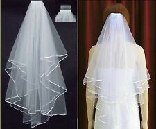 2014 White Ivory Wedding Bridal Pearls Ribbon Edge Accessory Women's Comb Veils