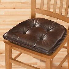 """NEW ~ Non Slip Faux Leather Chair Pad Cushion 16"""" x 15"""" x 2"""" Stay Put Gripper"""
