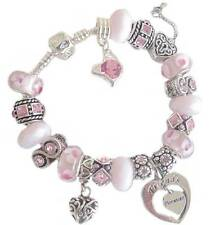 LADIES CHARM BRACELET DAISY PINK SPARKLE BIRTHDAY & MESSAGE CHARM PRESENT BOXED