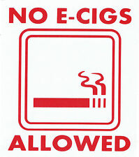 NO E CIGS ALLOWED VINYL  STICKER DECALS