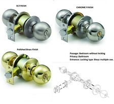 DOOR LOCK KNOB SETS ENTRANCE PRIVACY PASSAGE CHROME STAINLESS STEEL BRASS