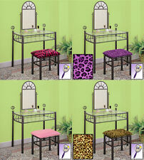 FC601 BLACK FINISH METAL MAKE UP VANITY TABLE DESK W/ SEAT CUSHION BENCH MIRROR