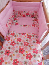 NEW BEAUTIFUL RETRO FLOWER PRINT  CRIB COT OR COTBED  SET.VARIOUS COLOURS