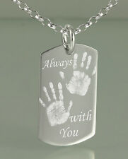 925 Sterling Silver - Personalised Custom Engraved ID / Dog Tag Pendant
