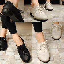 Women Oxford Lace Up Loafers Black Ivory Size 5 5.5 6 6.5 7 7.5 8 8.5 9 9.5 10