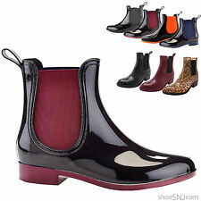 New Women Chelsea Almond Toe Jelly Rubber Rainboot Side Panel Ankle Bootie Shoes