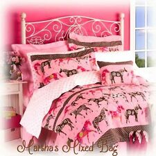 Girls WESTERN Horse Flower PONY Twin~Full~Queen Size PiNK Bedding Comforter Set