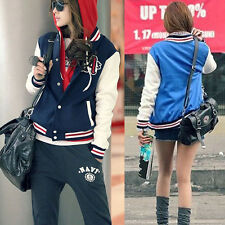 Womens Stylish Baseball Uniforms Stand Collar Loose Long-sleeved Jacket US TS
