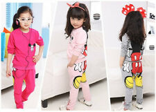 Girls Kids Mickey Mouse Minnie Tops Hoodie Sweatshirt Two-pieces Suit Sportswear