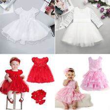Xmas Outfit Girl Baby Princess Party Pageant Wedding Flower Petal Dress Headband