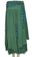 PRETTY ANGEL GREEN Vintage Boho Peasant Gypsy skirt--flowing, layered, & elegant