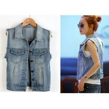 Women Lady Vintage Frayed Cardigan Jean Waistcoat Jacket Outerwear Denim Vest