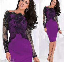 Sexy Women Lace Off Shoulder Pencil Dress Formal Evening Cocktail Party Fit Gown