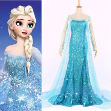 Frozen Movie Elsa Queen Blue Fancy Dress Adult Lady Costume Cosplay Dress