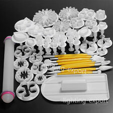 NEW 46Pcs Fondant Sugarcraft Cake Decorating Icing Plunger Cutters Tools Mold