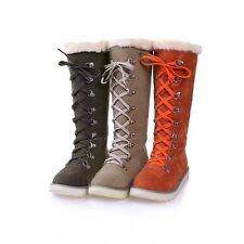 Lace Up Fur Winter Snow Boots Knee High Cross Strap Plus Sizes Boot Womens Shoes