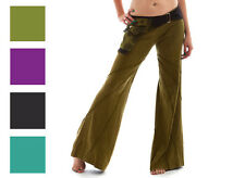 STONEWASH HIPPY FLARED LOUNGE TROUSERS pants flares psy trance pixie 8 10 12 14