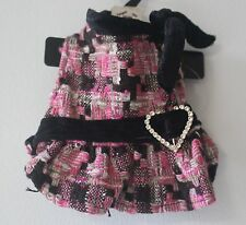 XXS PINK DRESS W/ BLACK VELVET TRIM & RHINESTONES