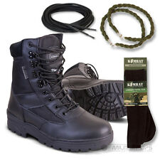 ARMY HALF LEATHER COMBAT PATROL BOOT BLACK CADET NEW WITH SOCKS LACES TWISTS