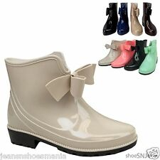 New Women Jelly Almond Toe Patent Rubber Bow Rainboots Ankle Booties Shoes