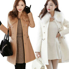 Free!! Womens Slim Wool Faux Fur Trench Parka Double-Breasted Winter Coat Jacket