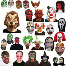 HALLOWEEN FANCY DRESS COSTUME LATEX FACE MASKS WIG DEVIL ZOMBIE,VAMPIRE,CLOWN