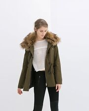 NWOT_ZARA PARKA WITH DETACHABLE COLLAR COAT JACKET_Size XS_Blogger's fave