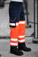 HI VIS COMBAT CARGO TRAFFIC TROUSERS HIGH VISIBILITY SAFETY WORK 2 TONE TROUSERS